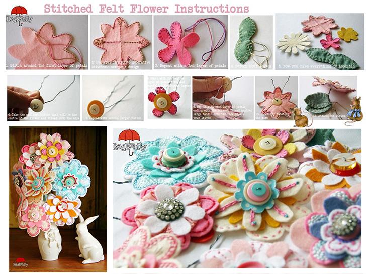 Flor de feltro e botões