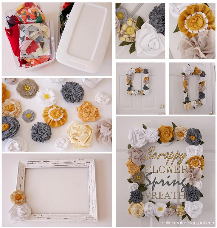 Guirlanda feita com flores de feltro e tecido