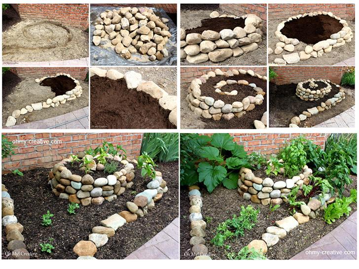 Jardim em espiral com pedras