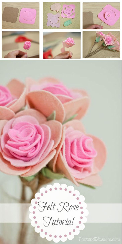 rosa de feltro 728