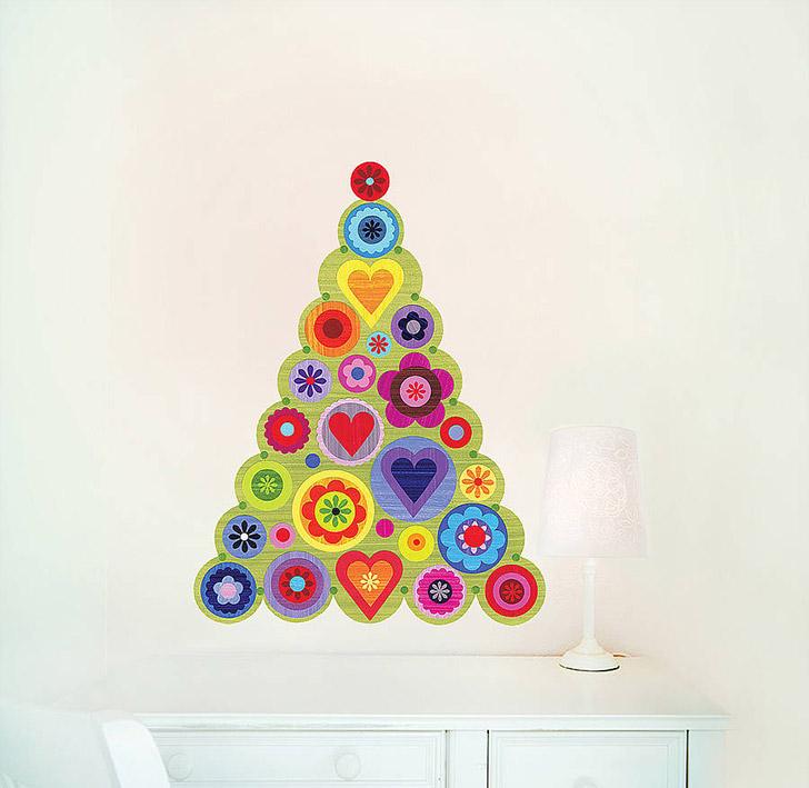 arvore natal parede circulos coloridos