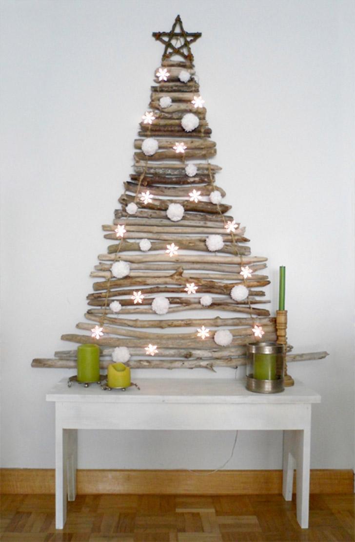 decoracao de arvore de natal na parede:arvore-natal-parede-galhos-madeira – Faça Você Mesmo