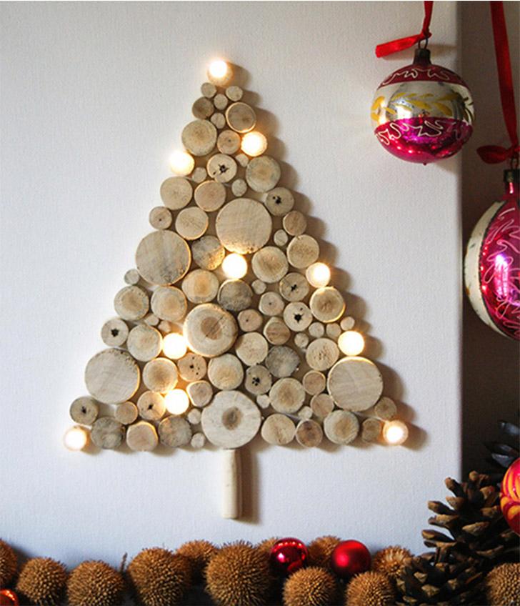 arvore natal parede troncos em circulo