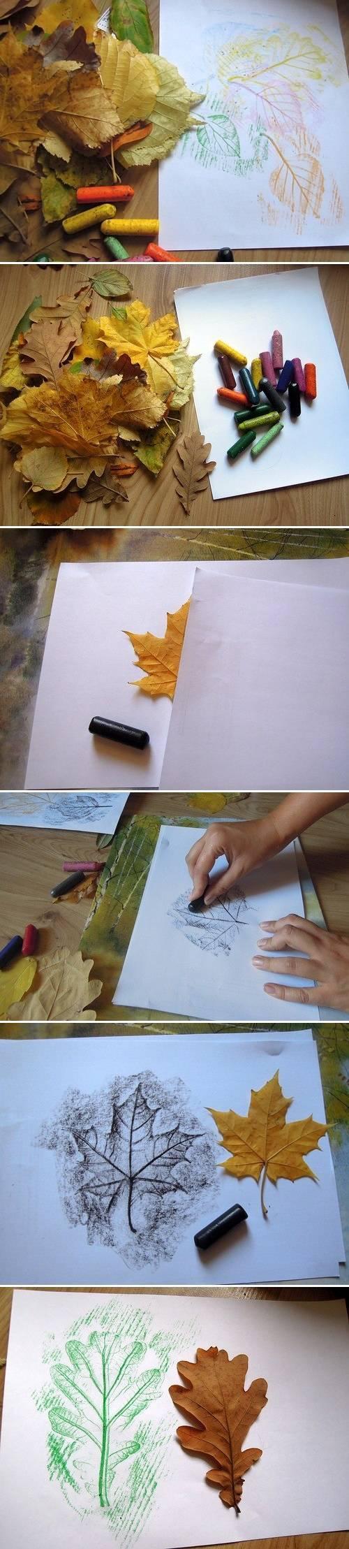Desenhar folhas usando giz e papel