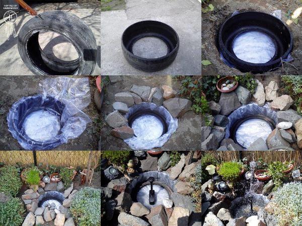 mini jardim aquatico:jardim-aquatico-usando-pneu-trator-medio – Faça Você Mesmo