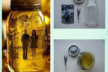 porta retrato com pote de conserva cheio de óleo vegetal