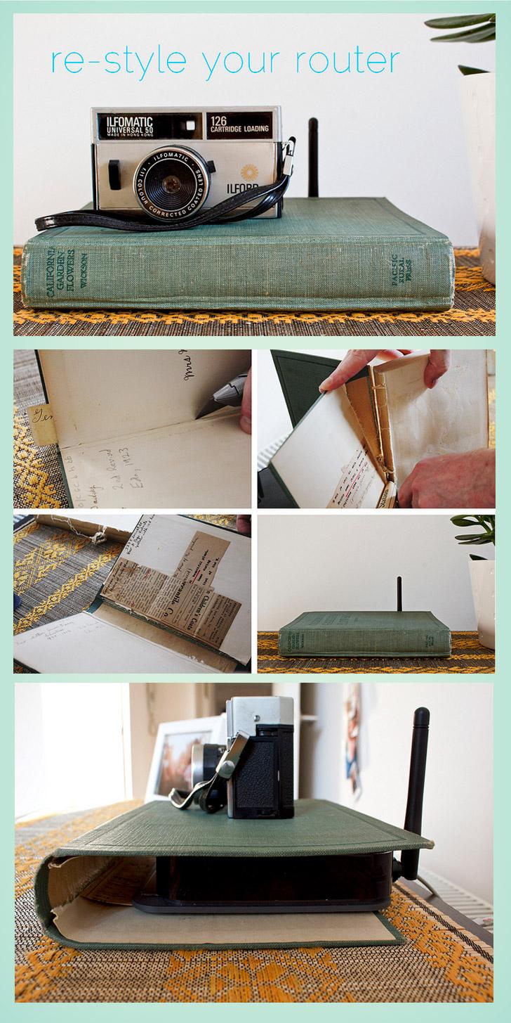 capa de livro velho para ocultar roteador