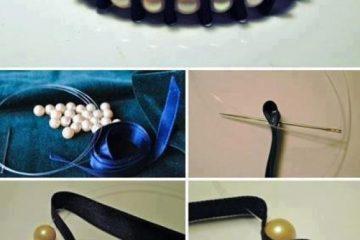 Bracelete com fita de cetim e pérolas