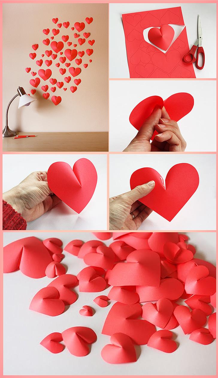 Faça Você Mesmo  Corações em 3d de papel para decoração