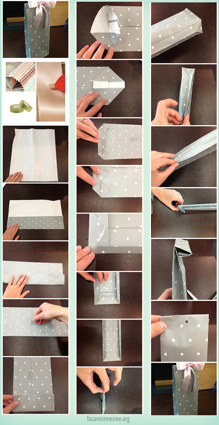 Sacola de papel para presentes personalizada fa a voc mesmo for Como colocar papel mural