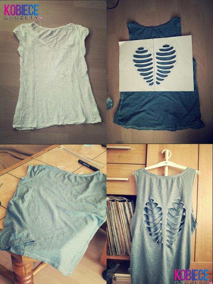 Faça Você Mesmo - Camiseta customizada com coração vazado