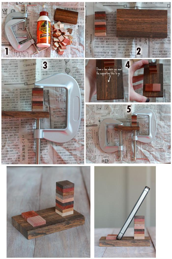 Porta celular em madeira -