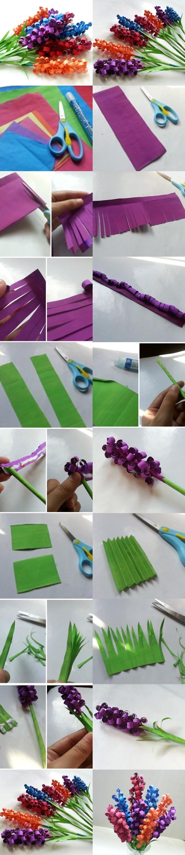 arranjo de flores de papel enrolado