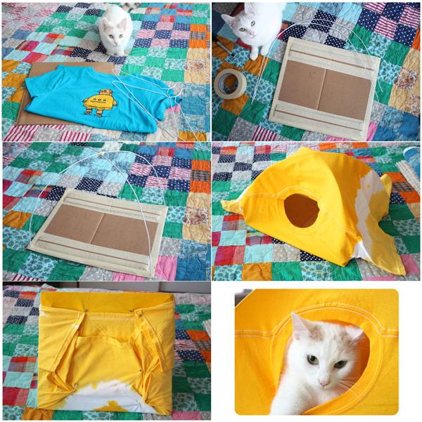 Tenda para gato feita com camiseta