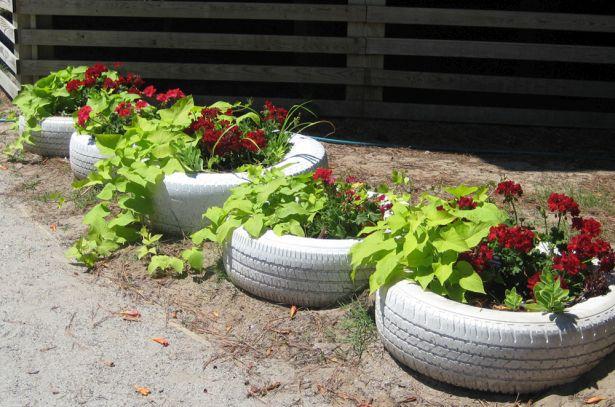 jardineira de pneus usados