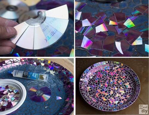 prato decorado com mosaico