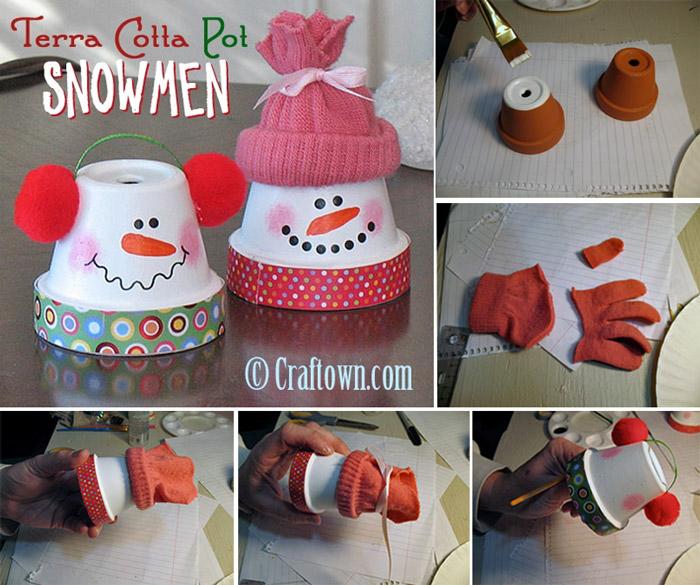 Vaso barro boneco neve